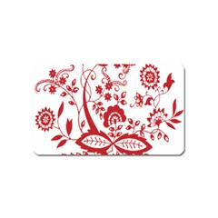 Red Vintage Floral Flowers Decorative Pattern Clipart Magnet (Name Card)