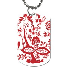Red Vintage Floral Flowers Decorative Pattern Clipart Dog Tag (One Side)