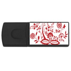 Red Vintage Floral Flowers Decorative Pattern Clipart USB Flash Drive Rectangular (1 GB)
