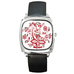 Red Vintage Floral Flowers Decorative Pattern Clipart Square Metal Watch