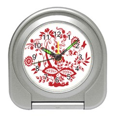 Red Vintage Floral Flowers Decorative Pattern Clipart Travel Alarm Clocks