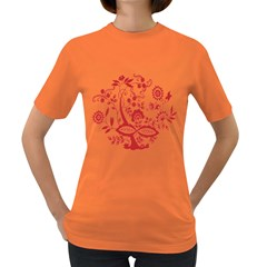 Red Vintage Floral Flowers Decorative Pattern Clipart Women s Dark T Shirt