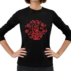 Red Vintage Floral Flowers Decorative Pattern Clipart Women s Long Sleeve Dark T-Shirts