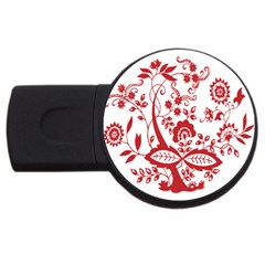 Red Vintage Floral Flowers Decorative Pattern Clipart USB Flash Drive Round (4 GB)