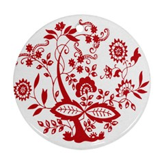 Red Vintage Floral Flowers Decorative Pattern Clipart Round Ornament (two Sides)
