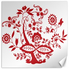 Red Vintage Floral Flowers Decorative Pattern Clipart Canvas 16  x 16