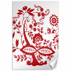 Red Vintage Floral Flowers Decorative Pattern Clipart Canvas 24  X 36