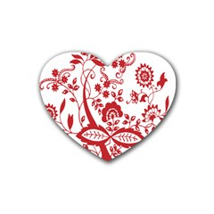 Red Vintage Floral Flowers Decorative Pattern Clipart Heart Coaster (4 pack)