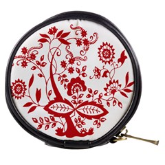 Red Vintage Floral Flowers Decorative Pattern Clipart Mini Makeup Bags