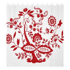 Red Vintage Floral Flowers Decorative Pattern Clipart Shower Curtain 66  x 72  (Large)