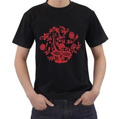 Red Vintage Floral Flowers Decorative Pattern Clipart Men s T Shirt (black)