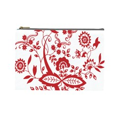 Red Vintage Floral Flowers Decorative Pattern Clipart Cosmetic Bag (large)