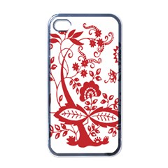 Red Vintage Floral Flowers Decorative Pattern Clipart Apple iPhone 4 Case (Black)