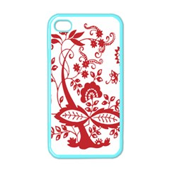 Red Vintage Floral Flowers Decorative Pattern Clipart Apple iPhone 4 Case (Color)