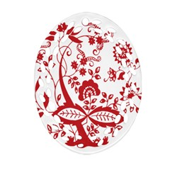 Red Vintage Floral Flowers Decorative Pattern Clipart Ornament (Oval Filigree)