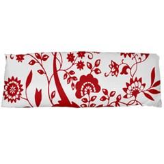 Red Vintage Floral Flowers Decorative Pattern Clipart Body Pillow Case (Dakimakura)