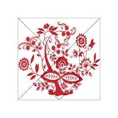Red Vintage Floral Flowers Decorative Pattern Clipart Acrylic Tangram Puzzle (4  X 4 )
