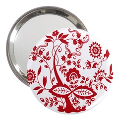 Red Vintage Floral Flowers Decorative Pattern Clipart 3  Handbag Mirrors