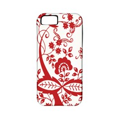 Red Vintage Floral Flowers Decorative Pattern Clipart Apple iPhone 5 Classic Hardshell Case (PC+Silicone)