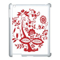 Red Vintage Floral Flowers Decorative Pattern Clipart Apple iPad 3/4 Case (White)