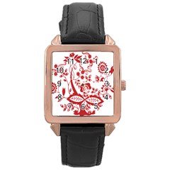 Red Vintage Floral Flowers Decorative Pattern Clipart Rose Gold Leather Watch