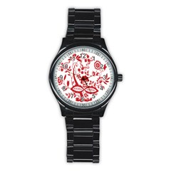 Red Vintage Floral Flowers Decorative Pattern Clipart Stainless Steel Round Watch
