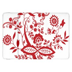 Red Vintage Floral Flowers Decorative Pattern Clipart Samsung Galaxy Tab 8.9  P7300 Flip Case