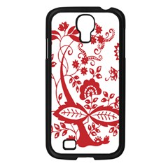 Red Vintage Floral Flowers Decorative Pattern Clipart Samsung Galaxy S4 I9500/ I9505 Case (Black)