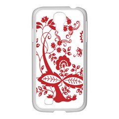 Red Vintage Floral Flowers Decorative Pattern Clipart Samsung GALAXY S4 I9500/ I9505 Case (White)