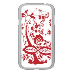Red Vintage Floral Flowers Decorative Pattern Clipart Samsung Galaxy Grand DUOS I9082 Case (White)