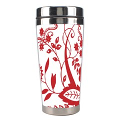 Red Vintage Floral Flowers Decorative Pattern Clipart Stainless Steel Travel Tumblers