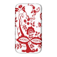 Red Vintage Floral Flowers Decorative Pattern Clipart Samsung Galaxy S4 Classic Hardshell Case (PC+Silicone)