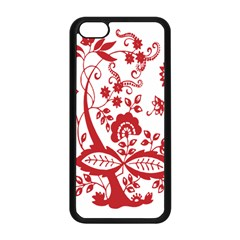 Red Vintage Floral Flowers Decorative Pattern Clipart Apple iPhone 5C Seamless Case (Black)