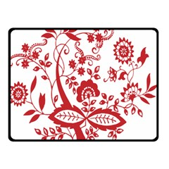 Red Vintage Floral Flowers Decorative Pattern Clipart Double Sided Fleece Blanket (Small)