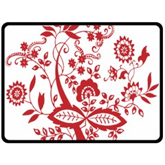 Red Vintage Floral Flowers Decorative Pattern Clipart Double Sided Fleece Blanket (Large)
