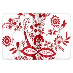 Red Vintage Floral Flowers Decorative Pattern Clipart Kindle Fire HDX Flip 360 Case