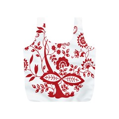 Red Vintage Floral Flowers Decorative Pattern Clipart Full Print Recycle Bags (S)