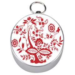 Red Vintage Floral Flowers Decorative Pattern Clipart Silver Compasses