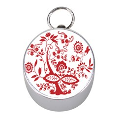 Red Vintage Floral Flowers Decorative Pattern Clipart Mini Silver Compasses