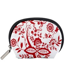 Red Vintage Floral Flowers Decorative Pattern Clipart Accessory Pouches (Small)