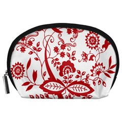Red Vintage Floral Flowers Decorative Pattern Clipart Accessory Pouches (Large)
