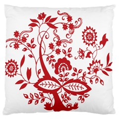 Red Vintage Floral Flowers Decorative Pattern Clipart Large Flano Cushion Case (One Side)
