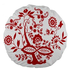 Red Vintage Floral Flowers Decorative Pattern Clipart Large 18  Premium Flano Round Cushions