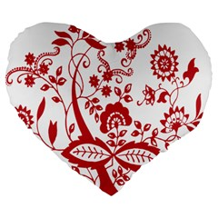 Red Vintage Floral Flowers Decorative Pattern Clipart Large 19  Premium Flano Heart Shape Cushions