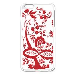 Red Vintage Floral Flowers Decorative Pattern Clipart Apple iPhone 6 Plus/6S Plus Enamel White Case