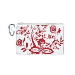 Red Vintage Floral Flowers Decorative Pattern Clipart Canvas Cosmetic Bag (S)