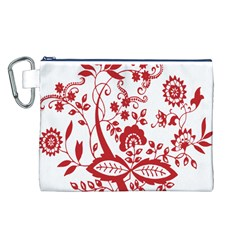 Red Vintage Floral Flowers Decorative Pattern Clipart Canvas Cosmetic Bag (L)