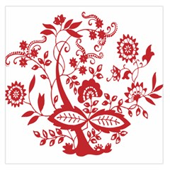 Red Vintage Floral Flowers Decorative Pattern Clipart Large Satin Scarf (square)