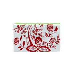 Red Vintage Floral Flowers Decorative Pattern Clipart Cosmetic Bag (xs)