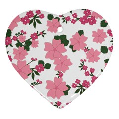 Vintage Floral Wallpaper Background In Shades Of Pink Ornament (Heart)